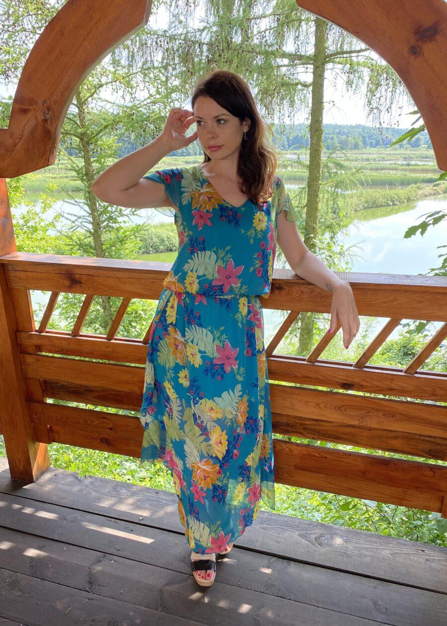 Rozkloszowana sukienka w kwiaty Fiona