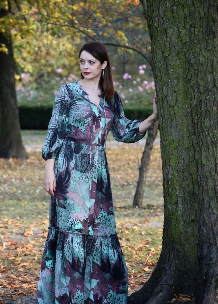 Długa sukienka brązowo-zielona