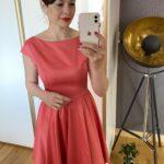 Sukienka rozkloszowana malinowa