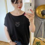 Czarna bluzka z motywem sowy