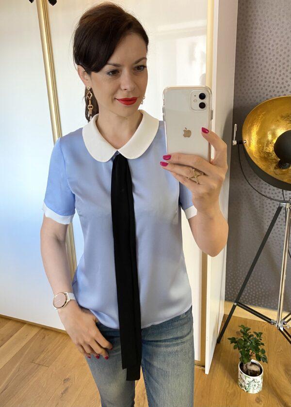 Bluzka niebieska wiązana